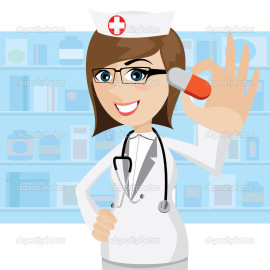 cartoon pharmacist showing pills in drug store